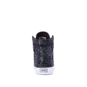 Kids Supra High Top Shoes SKYTOP Black Sequin/White | AU-99051