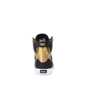 Kids Supra High Top Shoes SKYTOP Black/Gold/Black/white | AU-62508