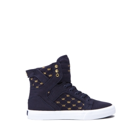 Kids Supra High Top Shoes SKYTOP Navy/Gold Crown/white | AU-63330