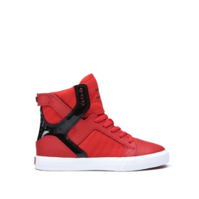 Kids Supra High Top Shoes SKYTOP Risk Red/Black/white | AU-42770