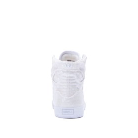 Kids Supra High Top Shoes SKYTOP White Sequin/White | AU-29210