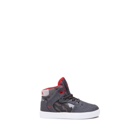 Kids Supra High Top Shoes TODDLER VAIDER Dk. Grey/Camo/white | AU-49425