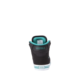 Kids Supra High Top Shoes VAIDER Black/Teal/white | AU-18464