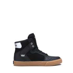 Kids Supra High Top Shoes VAIDER Black/Silver/white | AU-50245
