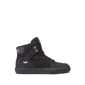 Kids Supra High Top Shoes VAIDER Black/Silver/black | AU-25611