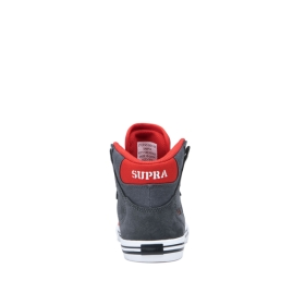 Kids Supra High Top Shoes VAIDER Dk Grey/Risk Red/white | AU-24182