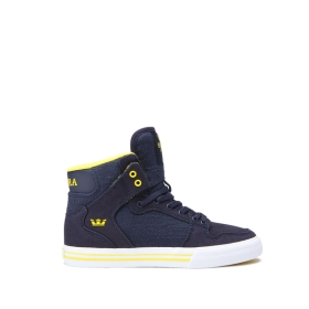 Kids Supra High Top Shoes VAIDER Navy/Yellow/white | AU-52870