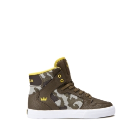 Kids Supra High Top Shoes VAIDER Olive Camo/white | AU-49008
