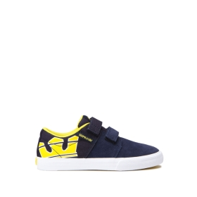 Kids Supra Low Top Shoes STACKS II VULC VELCRO Navy/Yellow/white | AU-82797