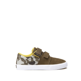 Kids Supra Low Top Shoes STACKS II VULC VELCRO Olive/camo White | AU-94144