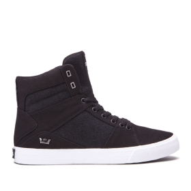Mens Supra High Top Shoes ALUMINUM Black/white | AU-54995