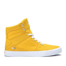 Mens Supra High Top Shoes ALUMINUM Caution/white | AU-21275