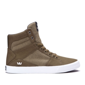 Mens Supra High Top Shoes ALUMINUM Olive/white | AU-20007