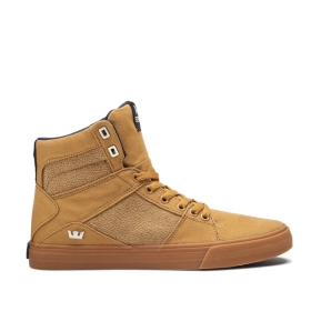 Mens Supra High Top Shoes ALUMINUM Tan/gum | AU-95764