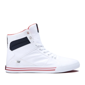 Mens Supra High Top Shoes ALUMINUM White/Navy/white | AU-53691