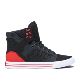 Mens Supra High Top Shoes SKYTOP Black/Pirate Black/white | AU-16119