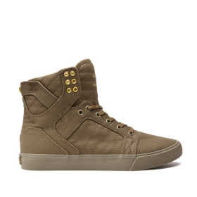 Mens Supra High Top Shoes SKYTOP Olive | AU-64176