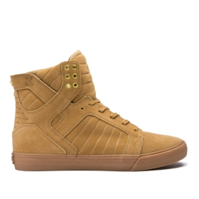 Mens Supra High Top Shoes SKYTOP Tan/Lt Gum | AU-38763