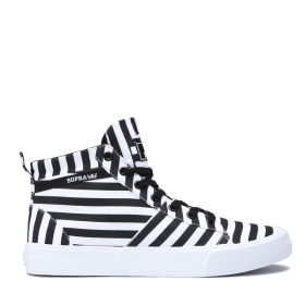 Mens Supra High Top Shoes STACKS MID Black/White Stripe | AU-90481