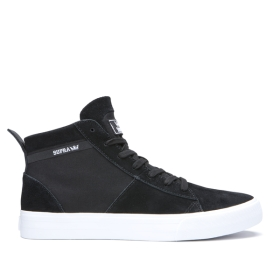 Mens Supra High Top Shoes STACKS MID Black/Black/white | AU-84730