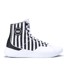Mens Supra High Top Shoes STATIK White Stripe/white | AU-11201
