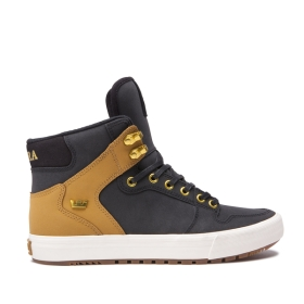 Mens Supra High Top Shoes VAIDER COLD WEATHER Black/Tan/bone | AU-49386