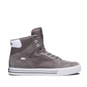 Mens Supra High Top Shoes VAIDER Charcoal/white | AU-13900