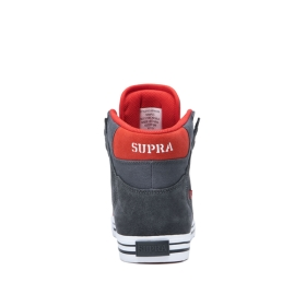 Mens Supra High Top Shoes VAIDER Dk Grey/Risk Red/white | AU-51564
