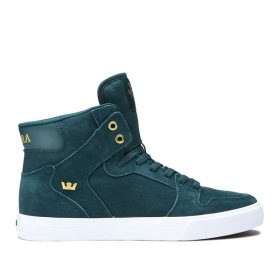 Mens Supra High Top Shoes VAIDER Evergreen/Gold/white | AU-21722