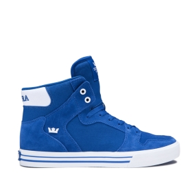 Mens Supra High Top Shoes VAIDER Ocean/white | AU-98910
