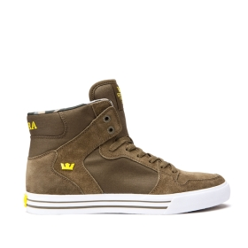 Mens Supra High Top Shoes VAIDER Olive/Golden/white | AU-11081