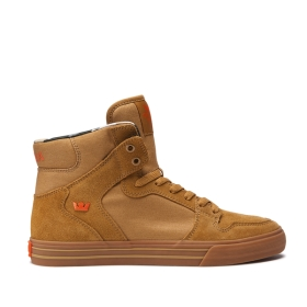 Mens Supra High Top Shoes VAIDER Tan/Lt Gum | AU-62788