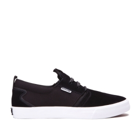 Mens Supra Low Top Shoes FLOW Black/Black/white | AU-39384