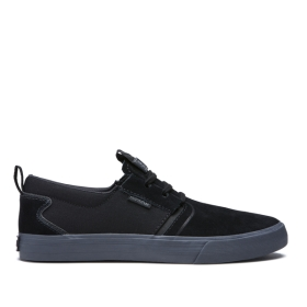 Mens Supra Low Top Shoes FLOW Black/dk Grey | AU-87586