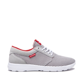 Mens Supra Low Top Shoes HAMMER RUN Lt. Grey/Risk Red/white | AU-30884
