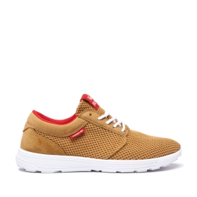 Mens Supra Low Top Shoes HAMMER RUN Tan/Risk Red/white | AU-85786