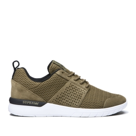 Mens Supra Low Top Shoes SCISSOR Olive/Black/white | AU-38211