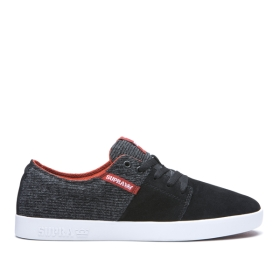 Mens Supra Low Top Shoes STACKS II Black/Bossa Nova/white | AU-51178