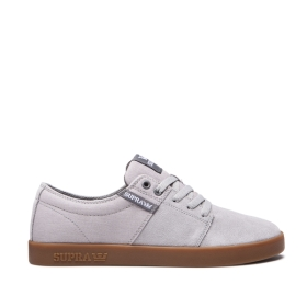 Mens Supra Low Top Shoes STACKS II Lt. Grey/Grey/gum | AU-22217