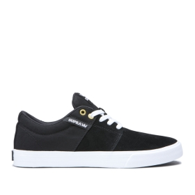 Mens Supra Low Top Shoes STACKS II VULC Black/Black/white | AU-43909