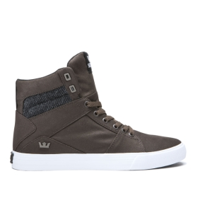Womens Supra High Top Shoes ALUMINUM Demitasse/Black/White | AU-16824