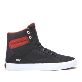 Womens Supra High Top Shoes ALUMINUM Black/Bossa Nova/White | AU-86721