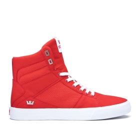 Womens Supra High Top Shoes ALUMINUM Risk Red/white | AU-11240