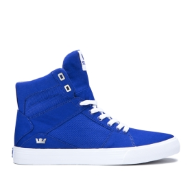 Womens Supra High Top Shoes ALUMINUM Royal/white | AU-78451