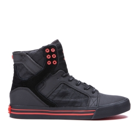 Womens Supra High Top Shoes SKYTOP Black/black/Risk Red | AU-83232