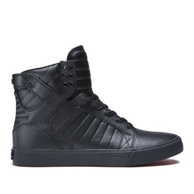 Womens Supra High Top Shoes SKYTOP Black/Black/red | AU-42615