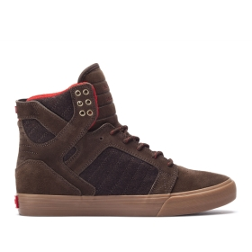 Womens Supra High Top Shoes SKYTOP Brown/Gum | AU-42286