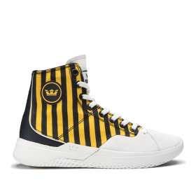 Womens Supra High Top Shoes STATIK Caution Stripe/bone | AU-27028