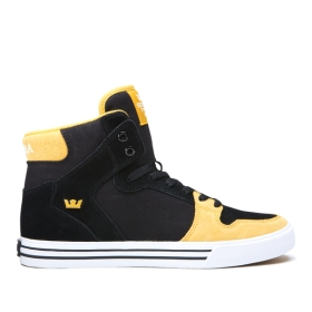 Womens Supra High Top Shoes VAIDER Black/Golden/white | AU-79698