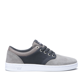 Womens Supra Low Top Shoes CHINO COURT Grey/Dk Grey/white | AU-74287